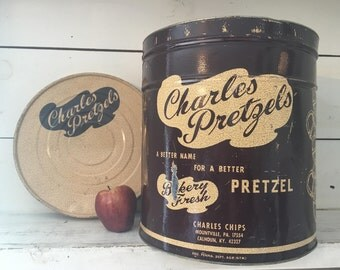 Very Large Charles Pretzels Farmhouse Kitchen Tin/Shabby Chic Collectible Large Charles Chips Tin with Original Lid/Decorative Farmhouse Tin