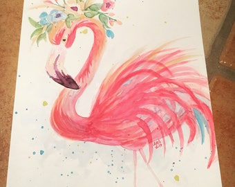 Flamingo with flower crown