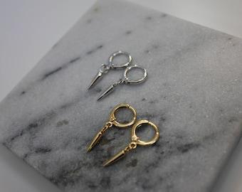 Dainty Gold Spike Earrings - Silver Spike Earrings - Small Hoop Earrings - Huggie Earrings - Dangle Earrings
