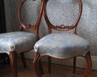Pair of Carved Victorian Walnut Balloon Back Salon Chairs, Traditionally Upholstered in Blue Damask Fabric by MULBERRY HOME
