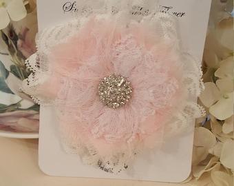 Shabby Tattered Fabric Flower - Lila