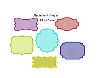 Frame Applique Design - 6 designs 3,4,5,6,7 inch size each - Border Applique instant download