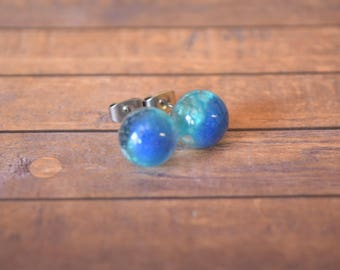 Blue Metallics, Stud, Globe, Earrings.