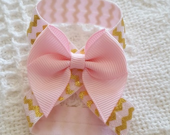 Pink and gold chevron baby barefoot sandals - baby sandals - baby photo prop - newborn photo prop - baby barefoot sandals - newborn shoes