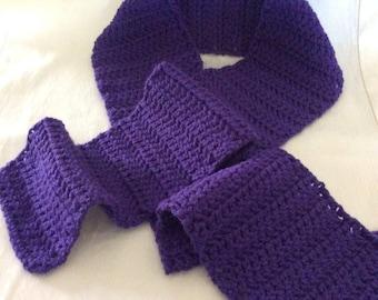 Handmade Scarf, Crochet Scarf, Purple Crochet Scarf