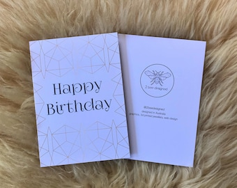 Geometric Gold and White Birthday Card