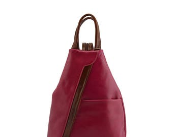 Backpack for Woman in Genuine Leather with Adjustable Straps