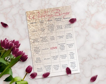 Wedding Bingo 2 Grooms Edition: 10-Card Printed Set with Gold Stickers for Marking Squares