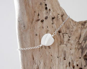 Fine 925 silver bracelet with chain, heart MOP (BRSS19) Christmas gift