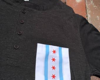Chicago Flag Pocket Henley