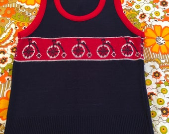 Vintage Intarsia Bicycle Penny Farthing Novelty Knit Sweater Vest Blue Red White Towncraft Medium 70s