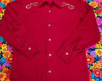 Vintage Burgundy Corduroy Embroidered Deer Acorns Horns Big Collar Long Sleeve Shirt