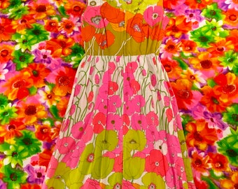 Vintage Psychedelic Floral Hawaiian Zip Up Sleeveless Maxi Dress Alice of California Neon Day Glo Tropical 1960's Flower Power Polynesian