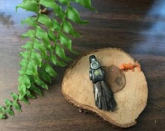 Kyanite Fan and Peridot Clay Pendant