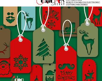 15 Christmas Tags Digital Cut Files SVG DXF Vector Cuttable Printable Download Vinyl Iron On Heat Transfer Silhouette Cricut JB-931