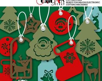 14 Christmas Tags Digital Cut Files SVG DXF Vector Cuttable Printable Download Vinyl Iron On Heat Transfer Silhouette Cricut JB-933
