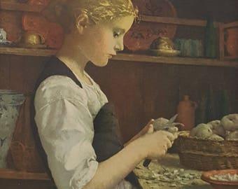 Antique Framed Print - Girl Peeling Potatoes