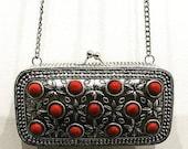 handbag designer handbag silver handbag metal handbag red handbag designer clutch metal clutch silver clutch