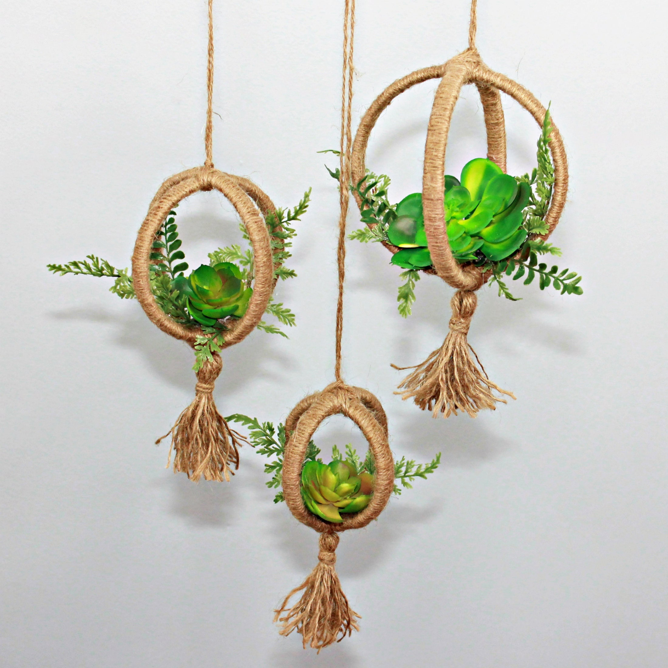 Home Accent Decor Hanging Artificial Succulent Hemp Plant