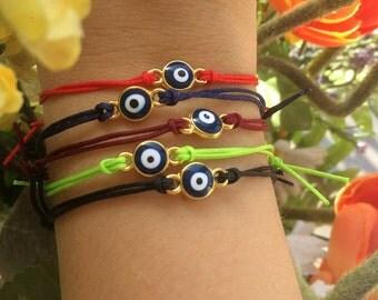 evil eye bracelet- evil eye jewerly- protection bracelet-friendship bracelet-  string bracelet- gold eye- small eye- minimal bracelet