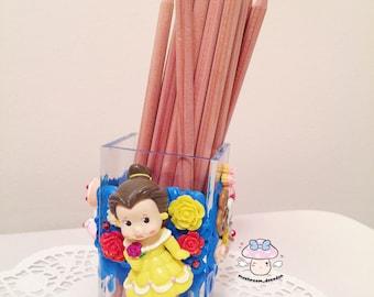 On SALE - Disney Beauty ans Beast Princess Belle cute decoden Pen Holder / Makeup Holder