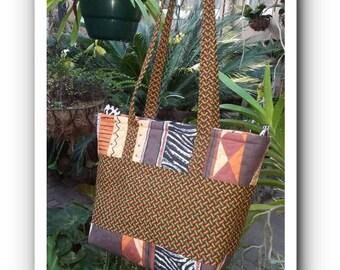 Brown Green Shweshwe African Print Bag
