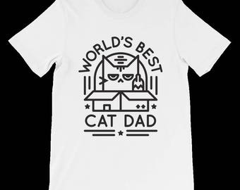 World's Best Cat Dad Shirt - Cat Dad T-Shirt - Gift For Cat Lovers - Good Father's Day Gift for Cat Lovers - Funny Cat Shirt