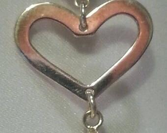 genuine Swarovski crystal/Sterling silver double heart earring