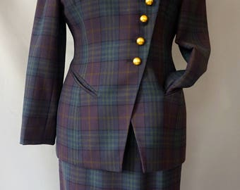 Christian Dior Purple Plaid Suit with Gold Buttons