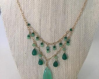 Chalcedony, Aventura Gemstone Necklace Handmade