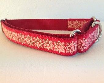 Martingale Dog Collar, Medium Red Martingale Collar, Medium Snowflake Martingale Dog Collar, Medium Adjustable Dog Collar