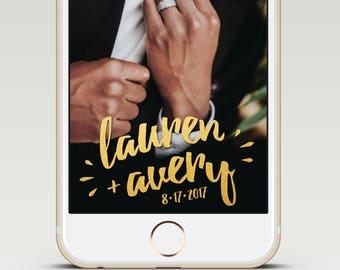 Gold Glitter Calligraphy Custom Snapchat Wedding GeoFilter
