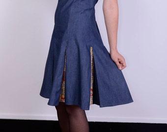 Gorgeous denim and batik pleated vintage dress