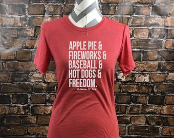Fourth of July Shirt, 4th of July, Freedom Shirt, Apple Pie Fireworks Baseball, Independence Day, 4th of july List, America Yall, Merica