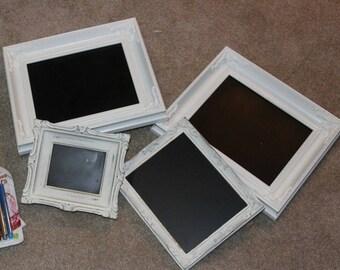 White Framed Vintage Style Chalkboards - Set of 4