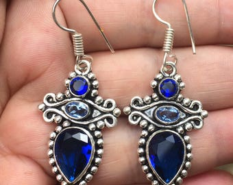 Silver earrings, blue quartz and iolite. Vintage earrings. Bohemian earrings. Earrings with natural stones. Amanara jewelry