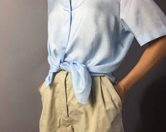 Silk vintage blouse Designer clothing Light blue Gerry Weber Size medium Vintage silk Summer blouse Resort wear Casual chic Office style