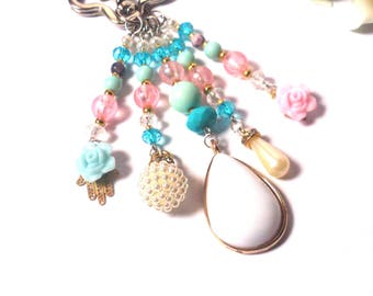 Keychain Blue White Pink - Pearl Pendants - Fashion Keyring - Blue Tassel - Hand Fatima / Hamsa - Happiness - Pendant Flowers