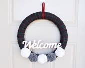Plaid Winter Welcome Wreath (large) | Wreath for Front Door | Wreath for Christmas | Plaid Fabric Wreath (Large)