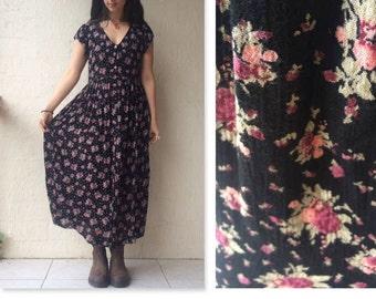 Boho Babydoll Grunge Floral Black and Pink Rayon Maxi Dress / boho maxi dress