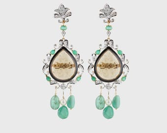 Aurus Diamond, Emerald & Creative Tourmaline Statement Chandelier Earrings for Women