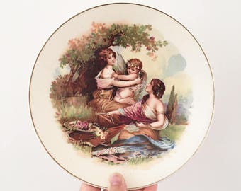 Antique Victorian Romanesque Display Plate - shabby chic pretty decor - porcelain cupid and women - roman greek god kirklands embassy #0408