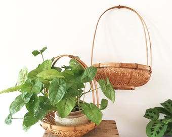 2 Vintage cane hanging basket planter - Bohemian Boho Eclectic Jungalow Decor Style Home - planter - indoor plants - woven wicker #0573