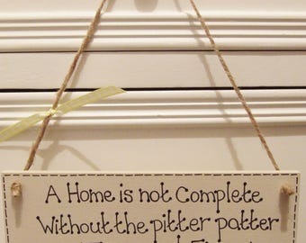 Handmade Personalised Rabbit Hanging Plaque Sign Pitter Patter Feet Pet Any Name Shabby Chic Cage Hutch Wooden Home Gift