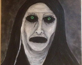 Painting of Valak Demon Nun from The Conjuring, With Glowing eyes