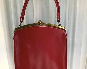 Vintage Red Leather Clasp Evening Bag