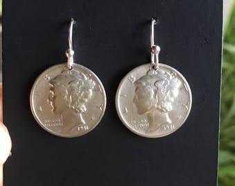 silver dime earrings