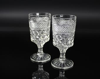 Wexford Wine Goblets By Anchor Hocking Clear Cris Cross Pattern set of 2 vintage antique