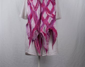 Nuno wet felted scarf in different shades of  roze on light roze silk gauze