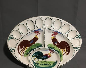 Vintage Ceramic NPS Egg Plate Platter Rooster Design Holds 8 Eggs plus other Foods Hand Painted Made in Italy
